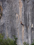 Rock Climbing Photo: Linda working her way up the corner and arete feat...