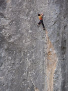 Rock Climbing Photo: Linda preparing to cast off on the slab enroute to...