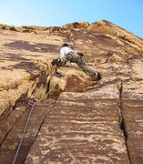 Rock Climbing Photo: The thin cracks on pitch 2.