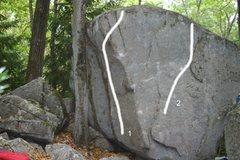 Rock Climbing Photo: 1. Liquid Swords, V3. 2. The Cube, V1.