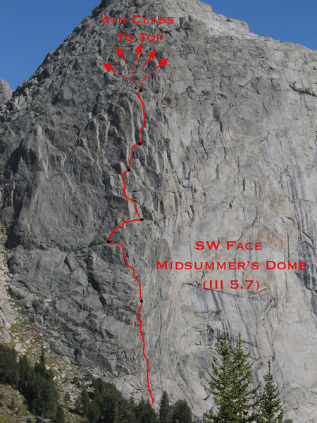 A not too exact topo photo of the route I took up Midsummer's Dome's SW Face.