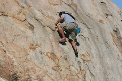 Rock Climbing Photo: Al on Joe Browns Helmet. His first time on this cl...
