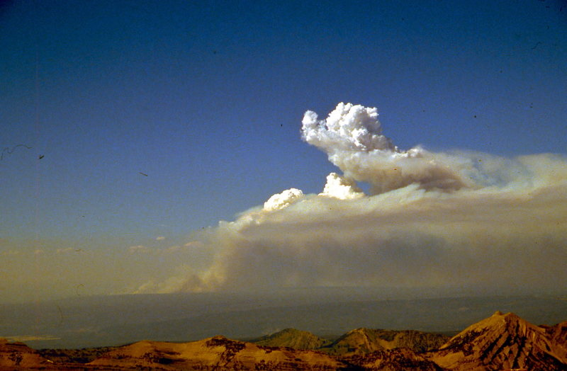 Yellowstone fires heating up for another run, viewed from Mt. Moran, July '88.
