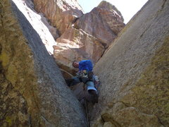Rock Climbing Photo: Mark relaxing just after the initial, difficult, o...