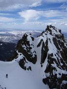 Rock Climbing Photo: The dogleg, 700ft or so? below top. Over this corn...