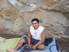 Rock Climbing Photo: me sitting at groom creek