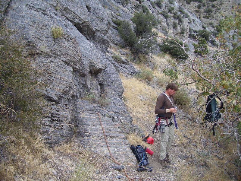 Rock Climbing Photo: Brett getting ready at the start of the line. Befo...