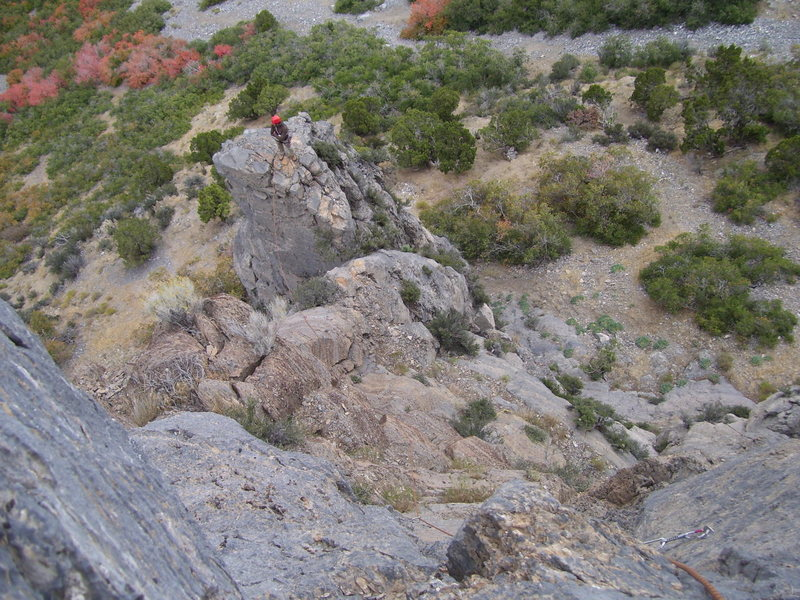 """Looking back down at Brett on the top of the pitch one tower. He is about to make the """"Leap of Faith"""""""