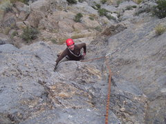 Rock Climbing Photo: Brett starting up the final steep corner of pitch ...