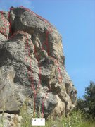 Rock Climbing Photo: #2 Chimmay Chimnea.  Dotted line shows where route...