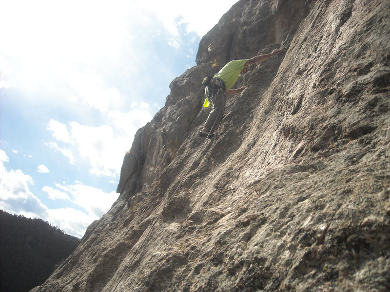 Rock Climbing Photo: Al leading off the start of P3, 5.7, no gear.  Thi...