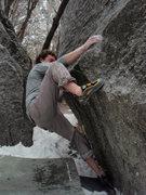 Rock Climbing Photo: Draw V4.  5 Mile. LCC.