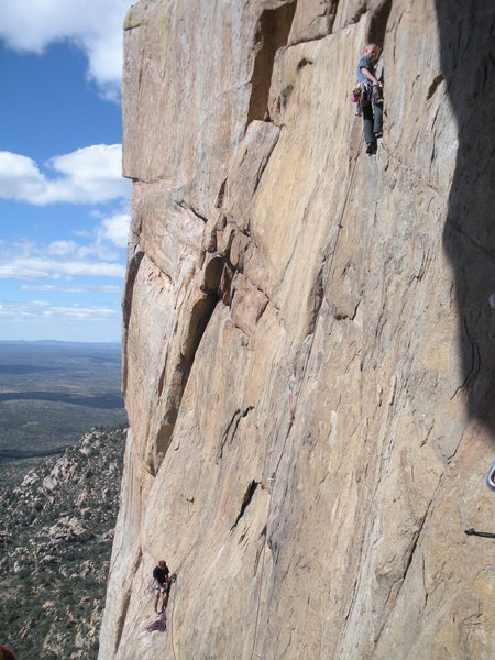 Rock Climbing Photo: Cooper Varney leading pitch 4 (5.11-) of Once Upon...