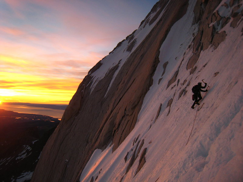Rock Climbing Photo: Erik H. on the opening traverse of the route. The ...