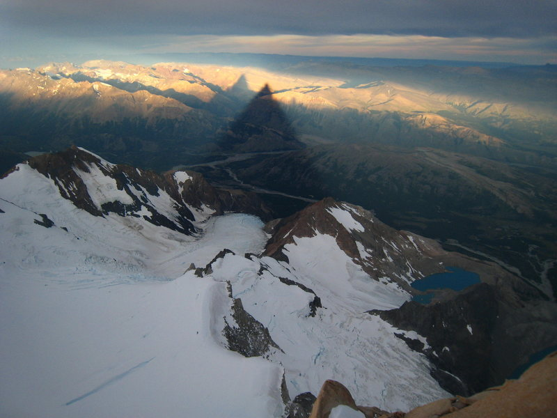 The amazing shadow of Poincenot from the summit. FitzRoy's shadow on the left.