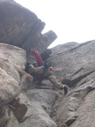 Rock Climbing Photo: Lenny in the p4 stem near the top of the pitch.