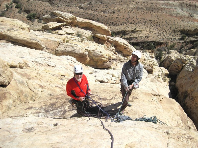 Chris and Lance on the belay of P4