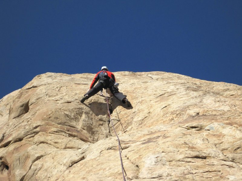 Chris on the crux section of P5