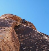 Rock Climbing Photo: Surmounting the overhang on the first pitch.