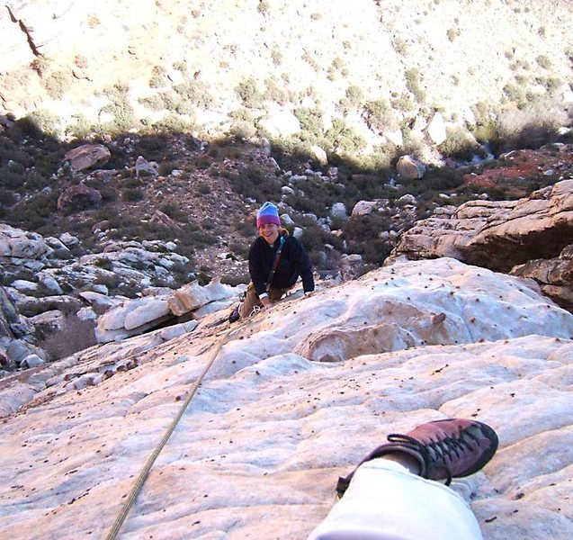 Rock Climbing Photo: Face-climbing on the second pitch.