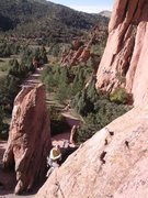 Rock Climbing Photo: Liz Hallworth topping out on the Practice Slab aft...