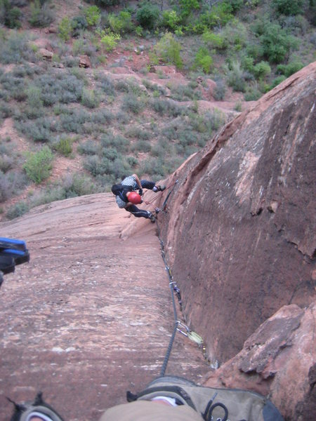 Rock Climbing Photo: Cleaning pitch three.