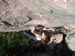 Rock Climbing Photo: Moving to the jug on Black Ice V2, Grass Hopper Po...