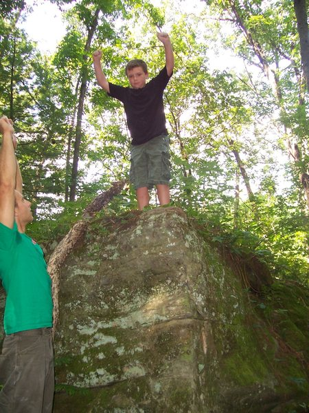 Rock Climbing Photo: the boy on his 1st boulder problem - a possible FA...