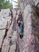 Rock Climbing Photo: Rhoads after sticking the crux.