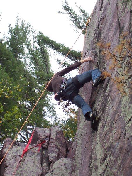 Rock Climbing Photo: Rhoads on the last moves.