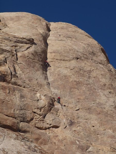 Rock Climbing Photo: Lance near the top of the 5.11 section pitch two.T...