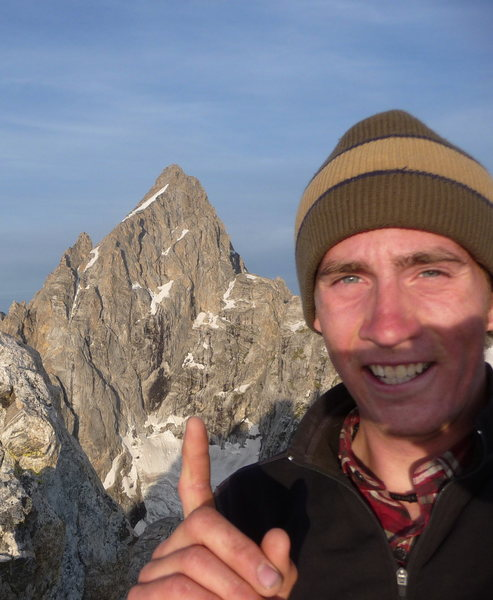 Atop Mt. Teewinot, peak #1 of the Grand Traverse. The N. Face of the Grand beckons.
