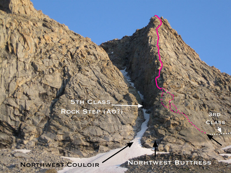 An approximate line on the NW Buttress. In August of 09 the NW couloir had a rock step in the middle that went at A0 for my compatriots.