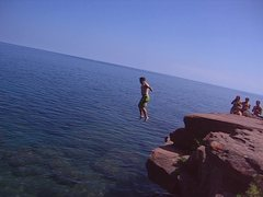 Rock Climbing Photo: Fun at Lake Superior
