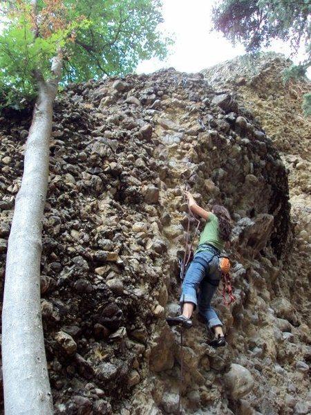 Ashley Budd climbing it.