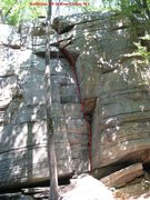 Rock Climbing Photo: The Guillotine line.  The crack to left of this is...