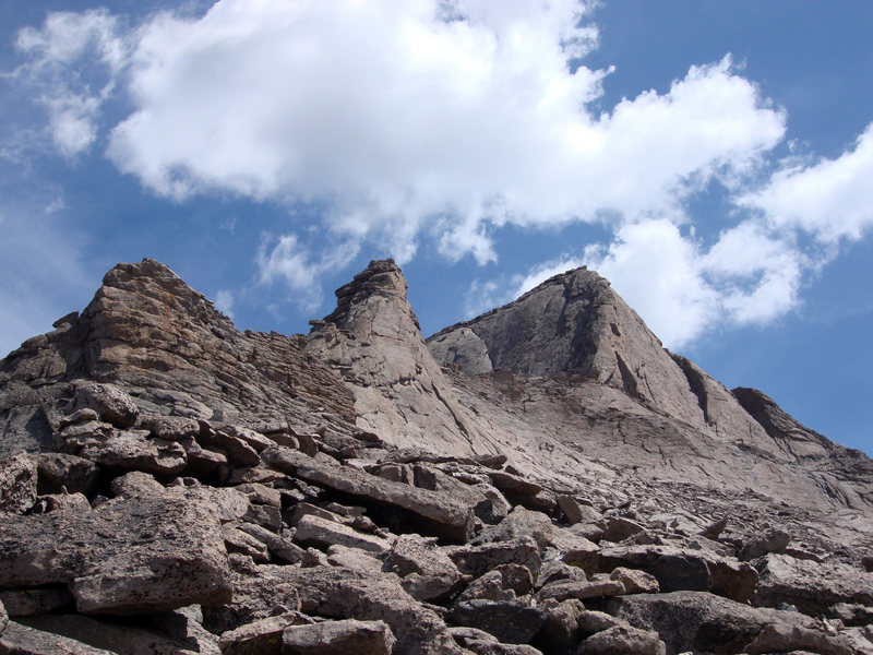 Tower Two, Tower One (Keyboard of the Winds) and the Southwest Ridge of Long's Peak as they appear after gaining the crest of the south ridge of the Dark Tower.