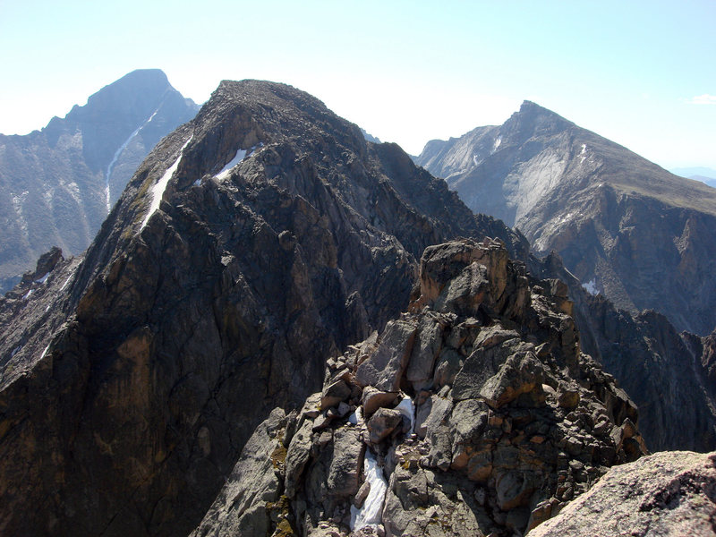 This is the summit of McHenry's Peak shot across McHenry's Notch from Powell Peak.  Long's Peak is on the left, Chiefs Head Peak  is on the right.