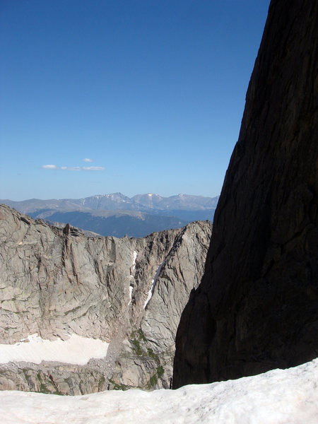 This view is to the north from McHenrys Notch. The col between Powell Peak and Point 12836 is in the middle distance.  The Mummy Range is on the horizon.