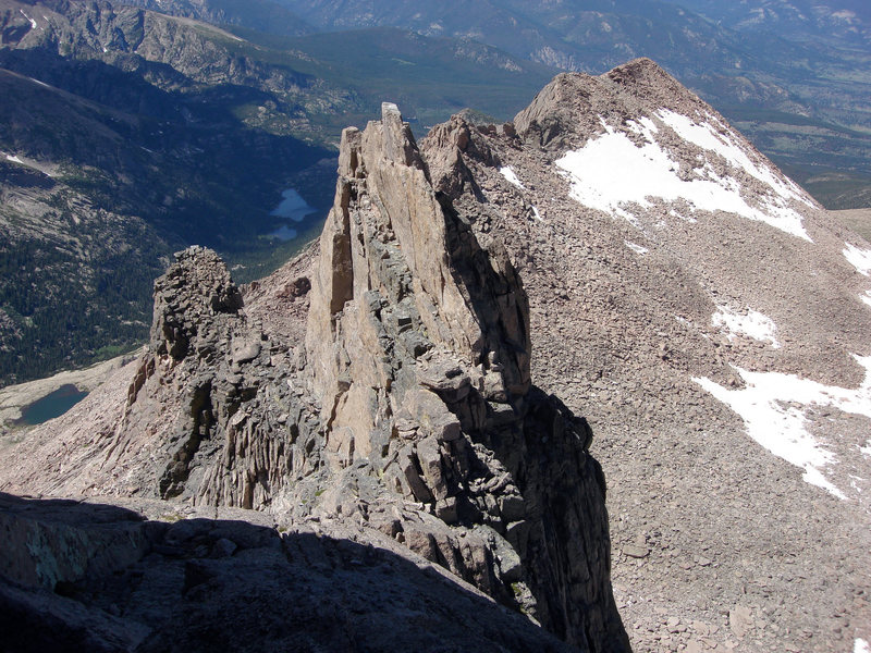 This view is to the northwest, looking down  the Keyhole Ridge. Storm Peak and the long north ridge of Longs Peak appear to the right.