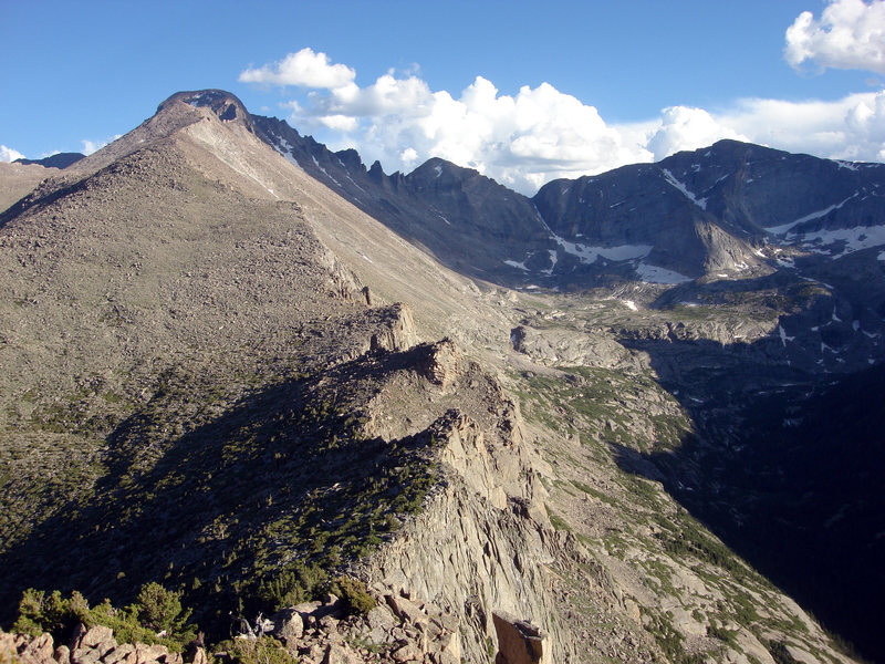 This shot is from the summit of Half Mountain looking  back whence I came up the very long north ridge of Long's Peak. To the right is the Keyboard of the Winds, Pagoda Mountain and Chiefs Head Peak.  As you can see it is rather late in the day and it is still a long ways back to the car.