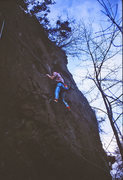 Rock Climbing Photo: Passing the 2nd bolt on the first ascent of Apple ...