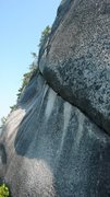 Rock Climbing Photo: Looking around the corner from the bolted belay at...