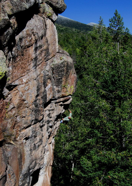 Colin Cox, 2nd ascent of Burning Point, Peaks Crag, AZ