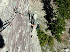 Rock Climbing Photo: Moving past the crux moves.
