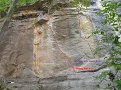 Rock Climbing Photo: Beta photo for the first three routes at KBE. Phot...