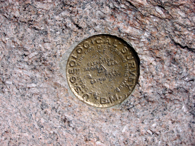 Rock Climbing Photo: USGS Bench Mark, summit of Long's Peak.