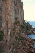 Rock Climbing Photo: andrew seconding laceration photo: Taylor Krosbakk...