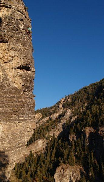 Rock Climbing Photo: Josh Graham nearing the top on a beautiful fall af...