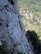 Rock Climbing Photo: The second runout pitch of Dave's Deviation.  Not ...